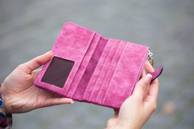 Pink empty wallet